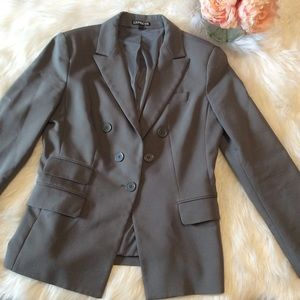 Express Gray Faux Double Breasted Blazer